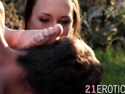Gorgeous brunette Blue Angel gets her feet licked outdoor