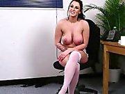 Busty cum loving babe sucking before facial