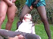 CFNM trio babes in outdoor goldenshower