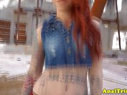 Tattooed redhead assfucked outdoors by bf