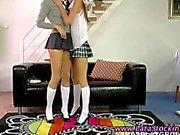 Amateur schoolgirl lesbo seduces her skinny friend