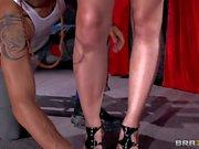 Busty blonde scarlett gives hot blowjob to asian stud Keni