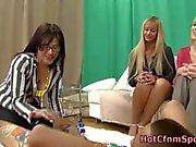 Horny fetish hottie sucks cock at the party