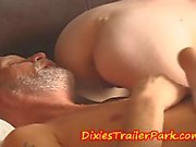 Sleeping daddy played with by daughter and son