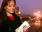 Amateur Camila fucked in public for cash