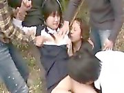 Cute babe gets treated like a whore by a group of horny boy