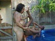 Ebony outside pool slut hammered by the ron