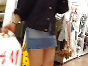 Candid voyeur hot teen tight booty shorts shopping