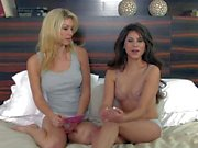Brunette bares her tits in front of Heather Vandeven