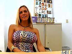 Big boobs MILF shows her tits for a casting
