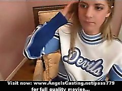 Amateur amazing blonde cheerleader doing blowjob and gets hard fucked