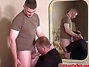 Beefy young soldier gets his boner blown