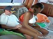 Nasty ebony slut gets her pussy teased on a boat