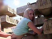 Slim Czech blondebangs pov outdoor in public