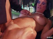 Busty brunette Shay enjoys in gang bang