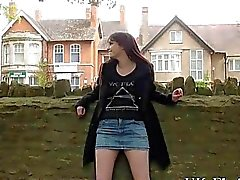 Daring public flasher and outdoor amateur babe