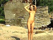 Blonde milf facial Linda gets bare on the beach