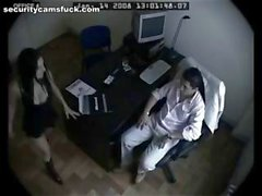 Security cam catches this horny couple fucking in the office