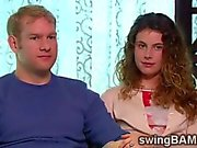 Hot young couple enjoy their new experiences with swingers couples