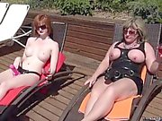 Strapon dominas penetrating sub ass outdoors