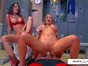 Jessica and Nikki take Evan's gigantic cock in their wet mouths and holes