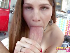 Sizzling Allison Moore devours this hard cock