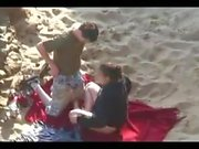 Several couples fucking on the beach !!!