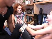Horny redhead gets her pussy sucked and fucked by a black stud in front of her cuckolded BF