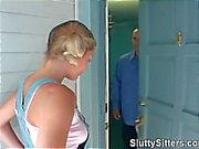 Blonde babysitter sucks her boss's cock