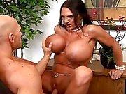 Sexy busty secretary fucking hard her boss