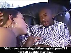 Amateur superb sexy redhead babe doing blowjob in the car