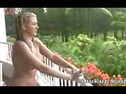 Alison Angel has sex in the rain -