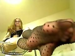 Naughty mistress pantyhose foot joi