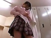 Delightful Japanese teen changes clothes and gets ready for