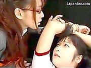 Schoolgirl In Training Dress Bondage Getting Her Nipples Tortured By Her Teacher