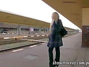 Busty blonde babe takes money and creampied in a train toilet