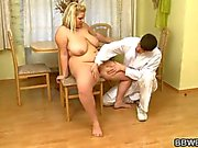 Horny doctor explores her fat body then fucks her greasy twat