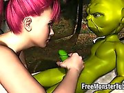 Foxy 3D redhead sucking on Yoda rock hard cock