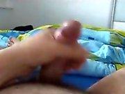 Hairy gay dude wanking on webcam in pov