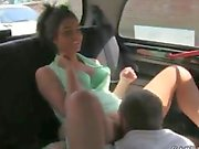 Busty wife fucking in threesome in fake taxi