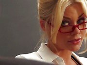 Blonde teacher Riley Steele gets shafted in the classroom