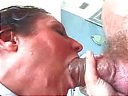 Slut gets big cock in her mouth