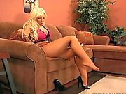 sexy big boobed blonde in pantyhose