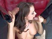 Cock sucker Chanel Preston gets double used
