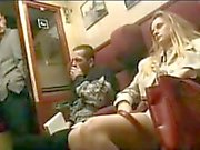 Blonde fucks with stranger on the train with her husband sleeping beside