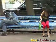 Abashed brune pisses herself in public