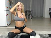 Amateur blonde teasing and toying Julia Reaves