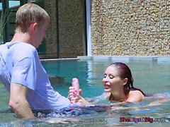 Bombshell Monique Alexander Plays With Pool Boys Dong