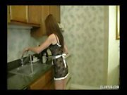 Brunette teen gives this guy a nice POV handjob in the kitchen