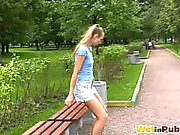 Public park self-pissing in sexy shorts